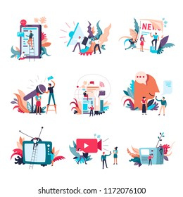 Journalism mass media news vector people icons