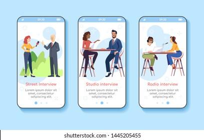 Journalism and press onboarding mobile app screen vector template. Street, studio, radio interviews. Walkthrough website steps with flat characters. UX, UI, GUI smartphone cartoon interface concept