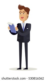 Journalist character vector. Cartoon in flat style design. Smiling man in business suite takes notes in notepad.  Illustration for business concepts, icons, infographics. Isolated on white background.