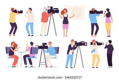Journalist characters. Broadcaster news journalists director broadcasting camera crew cameraman broadcast tv studio reportage vector. Illustration of cameraman and operator, professional crew