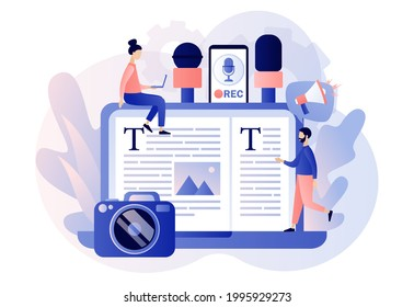 Journalist concept. Mass media news. Tiny people journalists with microphones write articles in newspaper or magazine on laptop. TV, internet and radio journalism. Modern flat cartoon style. Vector