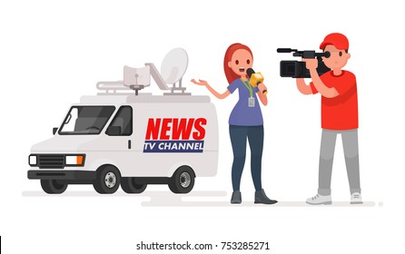 Journalist conducts a report from the scene of the events. Profession correspondent and videographer. Car of the news channel. Vector illustration in a flat style