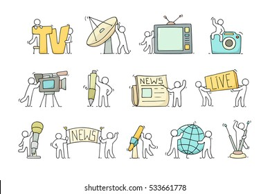 Journalist icons set of working little people with microphone, camera. Doodle cute miniature scenes of workers with tv symbols. Hand drawn cartoon vector illustration for media design