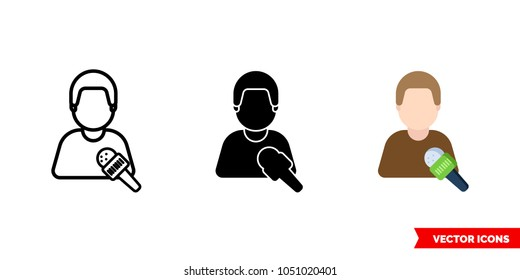 Journalist interview icon of 3 types: color, black and white, outline. Isolated vector sign symbol.