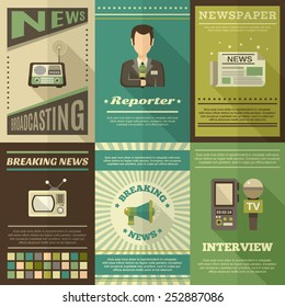 Journalist interview newspaper news broadcasting mini poster set isolated vector illustration