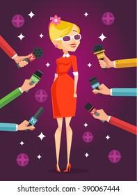 Journalist interviews celebrity girl. Vector flat illustration
