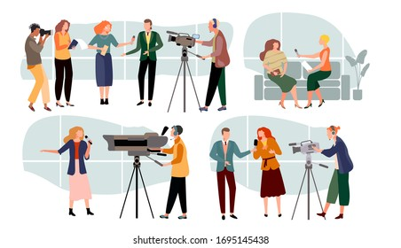 Journalist interviews vector illustration. Cartoon news presenters character, people with microphone interviewing, cameraman, videographer with camera. Tv journalism, mass media set isolated on white