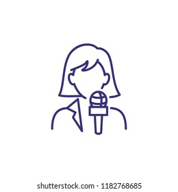 Journalist line icon. Woman with microphone, reporter, correspondent. Occupation concept. Can be used for topics like news agency, report, broadcast, press conference