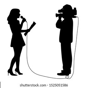 Journalist news reporter anchor woman with microphone and cameraman making reportage. Speaker newscaster anchor woman is reading a paper in front of broadcast camera operator.