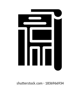 journalist newspaper column glyph icon vector. journalist newspaper column sign. isolated contour symbol black illustration