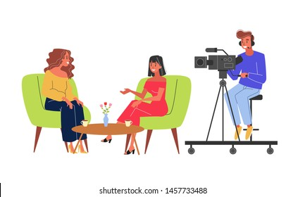 Journalist take interview and cameraman shooting video. Girl ask question. Interviewing famous person. Isolated vector illustration in cartoon style