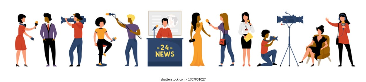 Journalists. Cartoon reporters, videographers and news presenter interviewing people, talk show cast and bloggers set. Vector illustration collection journalism and news with character tv