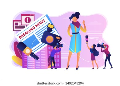 Journalists interviewing famous person. Reporters following celebrity. Yellow online press, paparazzi news feed, yellow journalism concept. Bright vibrant violet vector isolated illustration - Shutterstock ID 1402043294