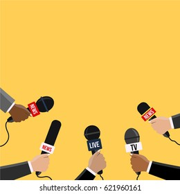 journalists with many mic reporting from the area breaking News Journalism flat design style. Reporters in live holding microphones illustration vector on TV & radio. Human hands with a modern Mike.