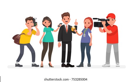 Journalists of news channels and radio stations are take interviewed. Characters videographer and photographer. Vector illustration in a flat style
