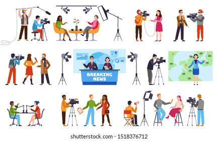 Journalists. Newscaster and journalist profession, media record. Television industry. Press interview with cameraman vector talking to camera isolated characters