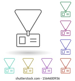 Journalist's tag multi color icon. Simple thin line, outline vector of media, press icons for ui and ux, website or mobile application