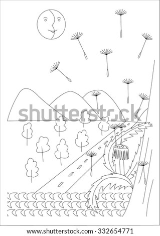 Journey Doodle Dandelion Blowing Sea Trees Stock Vector Royalty