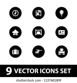 Journey icon. collection of 9 journey filled icons such as passport, luggage storage, cargo plane back view, luggage. editable journey icons for web and mobile.