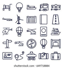 Journey icons set. set of 25 journey outline icons such as luggage, passport, helicopter, arrival table, luggage storage, trailer, distance, cargo plane back view, road