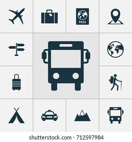 Journey Icons Set. Collection Of Bag, Car, Certificate And Other Elements. Also Includes Symbols Such As Bag, Overseas, World.