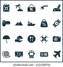 Journey icons set with quadrupter, the mountains, parasol and other vessel elements. Isolated vector illustration journey icons.