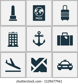 Journey icons set with roads, monument, taxi and other map elements. Isolated vector illustration journey icons.