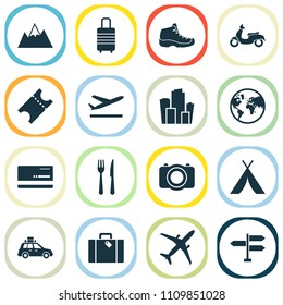 Journey icons set with suitcase, departure, suv and other metropolis elements. Isolated vector illustration journey icons.