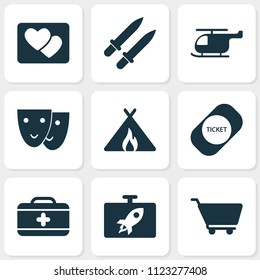 Journey icons set with swords, picture, tent with fire and other weapon elements. Isolated vector illustration journey icons.