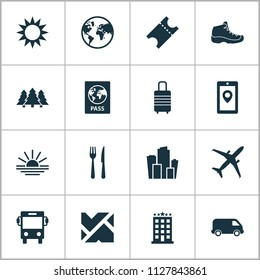 Journey icons set with ticket, hiking boot, baggage and other cafe elements. Isolated vector illustration journey icons.