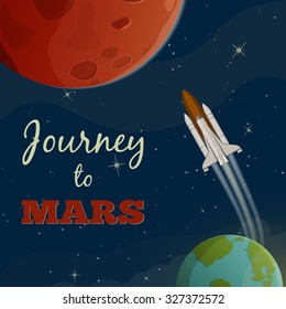 Journey to  Mars. Vector illustration