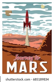 Journey to Mars. Vector Stylized Vintage Space Propaganda Poster
