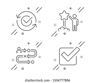 Journey path, Approved and Star line icons set. Checkbox sign. Project process, Refresh symbol, Launch rating. Approved tick. Business set. Line journey path outline icon. Vector