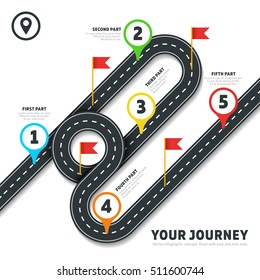 Journey road map business vector cartography infographic template with pins and flags. Map with road to business, cartography map with flag and pins illustration
