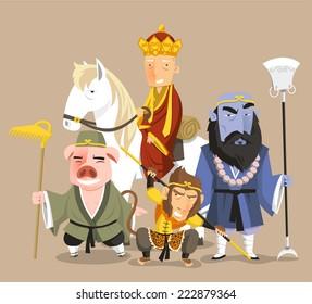 Journey to the West Chinese Mythology Novel Tale, vector illustration cartoon.