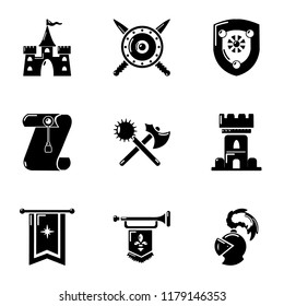 Joust icons set. Simple set of 9 joust vector icons for web isolated on white background