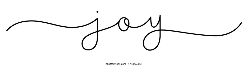 JOY black vector monoline calligraphy banner with swashes