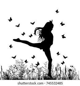 Joy of the girl and the butterfly. Vector