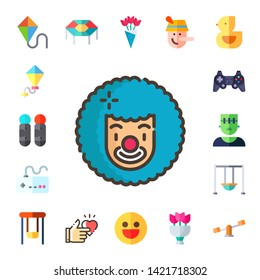 joy icon set. 17 flat joy icons.  Collection Of - kite, joystick, clown, gamepad, game controller, monster, swing, swings, trampoline, happy, bouquet, pinocchio, ducky