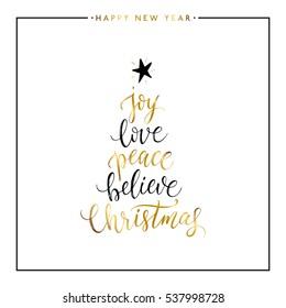 Freude, Liebe, Frieden, glaube, Weihnachtsgold-Text einzeln auf weißem Hintergrund, Frohes Neues Jahr und Weihnachten-Karte, goldene Vektorgrafik-Schriften für Visitenkarten, Poster, Banner, Druck, Einladung