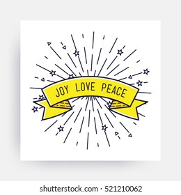 Joy Love Peace. Merry Christmas New Year Design, Linear Flat Icon. Simple vector illustrations for greeting card, posters, print, mobile phoned designs, ads, promotional  Golden Yellow black white