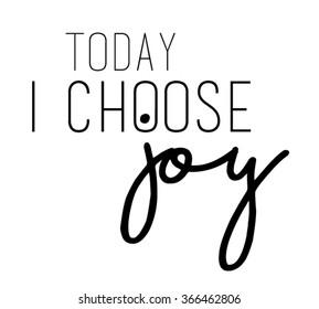 Joy slogan in black and in vector