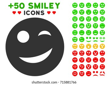 Joy Smiley pictograph with colored bonus facial clip art. Vector illustration style is flat iconic elements for web design, app user interfaces, messaging.