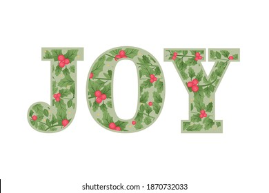 Joy Vector Text, Festive Garland Texture, Christmas Card, Holiday Card, Christmas Background, Vector Illustration Background