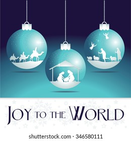Joy to the world. Christmas Nativity Scene Ornaments.