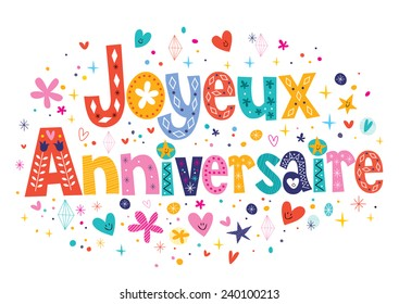 Joyeux Anniversaire Happy Birthday in French decorative lettering
