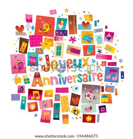Joyeux Anniversaire Happy Birthday French Greeting Image Vectorielle