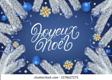 Joyeux Noel 2020 hand written lettering. Blue background with gift box, golden bow, ribbons, sparkling confetti and white christmas tree branches. Merry Christmas in French card. Realistic vector