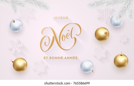 Joyeux Noel and Bonne Annee French Merry Christmas and Happy New Year golden decoration, calligraphy gold font for greeting card white background design. Vector Christmas holiday shiny star confetti