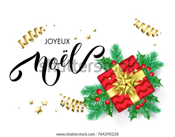 Joyeux Noel French Merry Christmas calligraphy hand drawn text for greeting card background template. Vector Christmas tree holly wreath decoration, golden confetti ribbon on premium white design